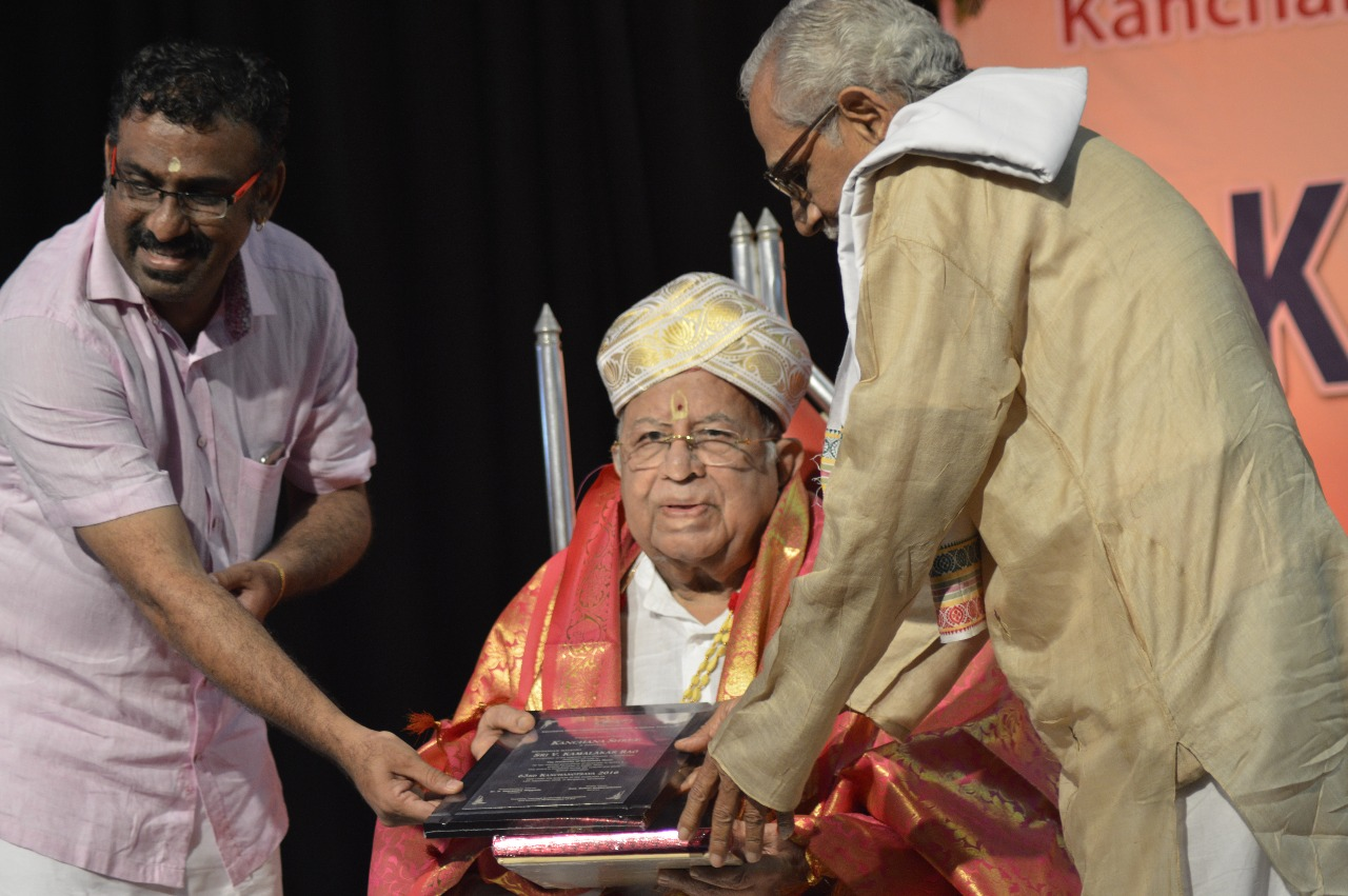 Felicitating Vid Kamalakar Rao with Kanchana shree Award.