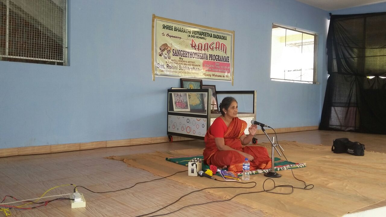 Our Trustee Vid. Rohini Subbartnam conducting workshop on music at Shree Bharathi Vidyapeetha Badiyadka